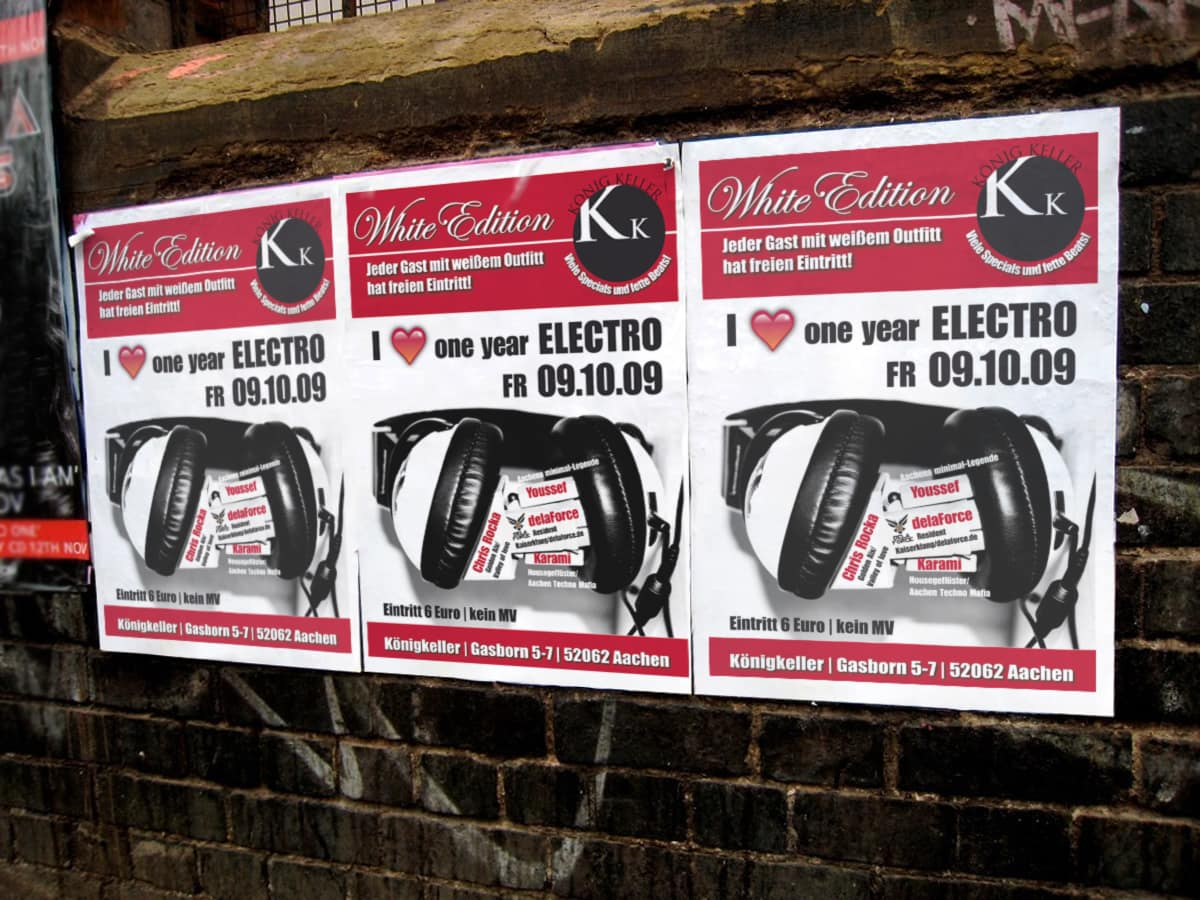 Plakatgestaltung für den Club KönigKeller, Aachen