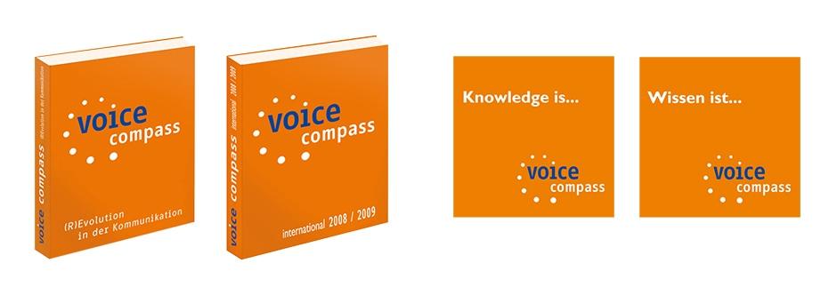 """Satz des Buches voice compass & Gestaltung der dazugehörigen Broschüre """"Wissen ist…""""."""