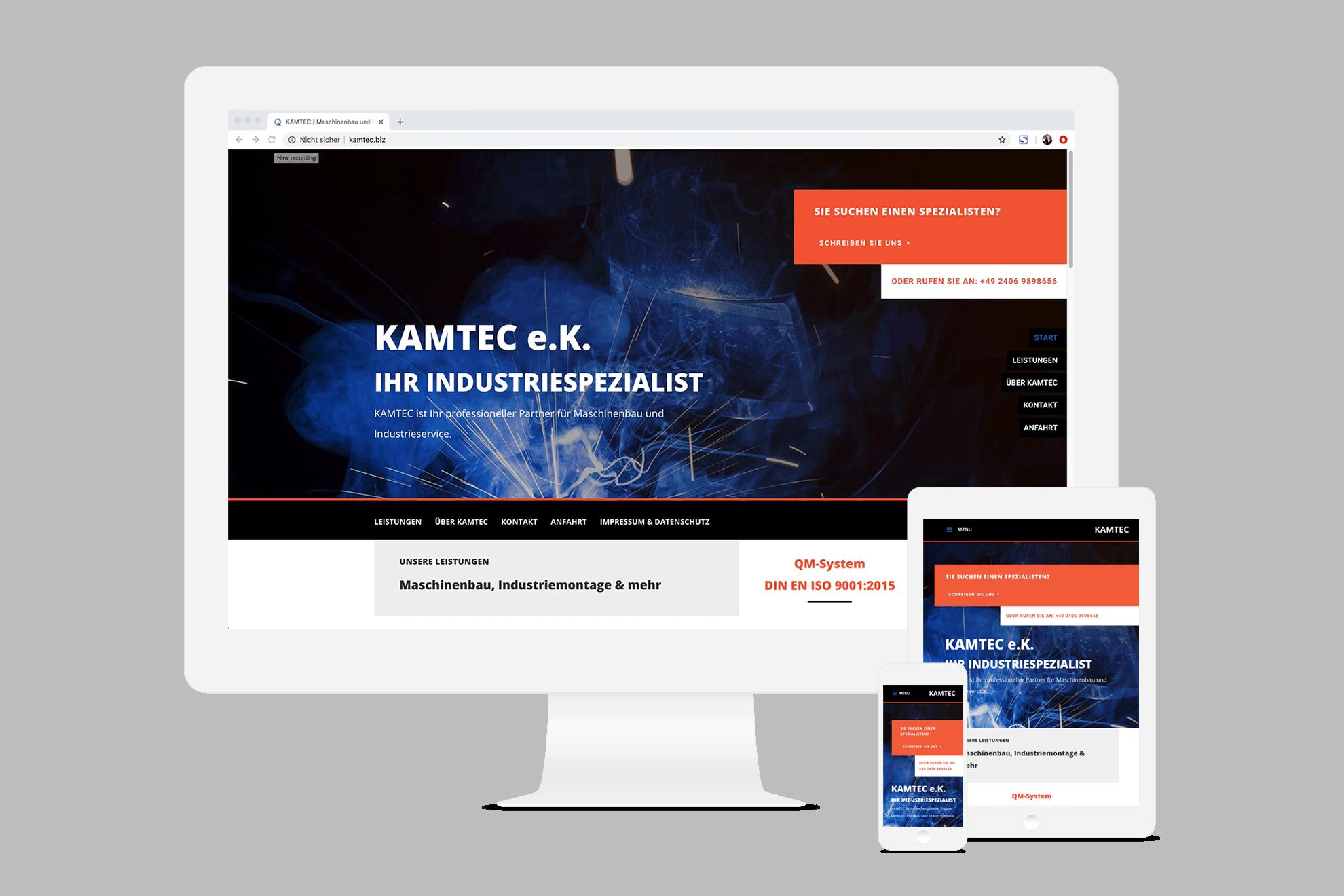 Onepage Webseite KAMTEC - Elementardesign