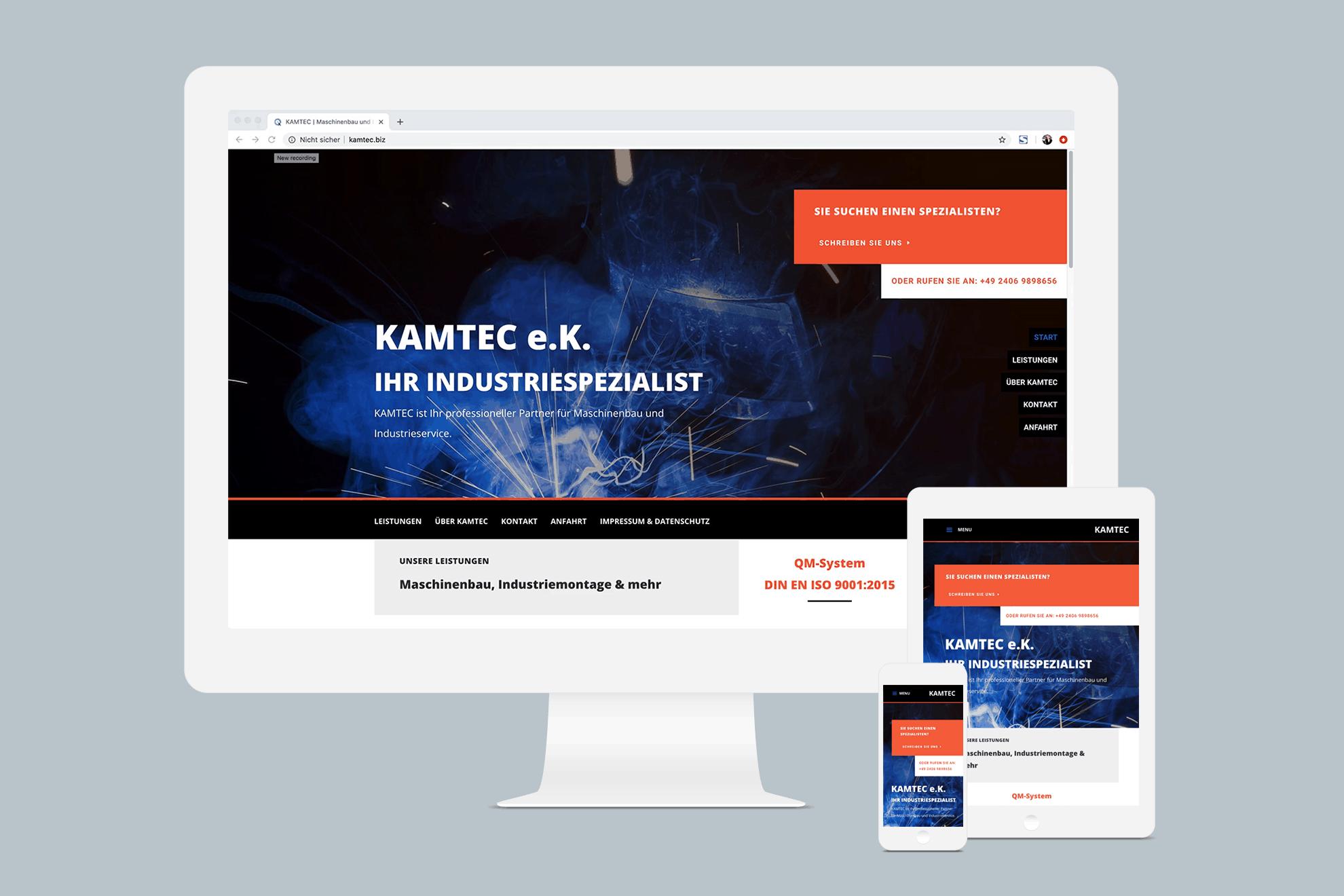 KAMTEC e.k. – Webseite, Elementardesign