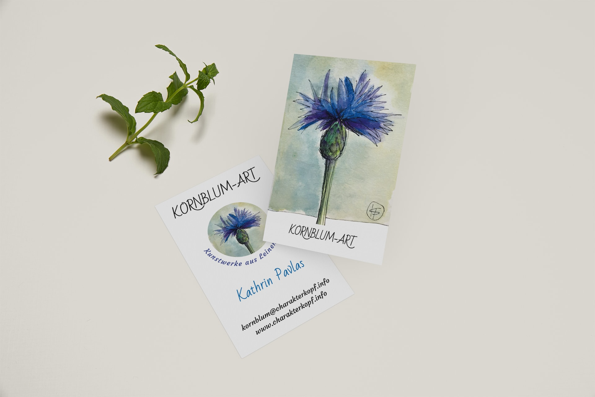 Visitenkarten – Kornblumart, Elementardesign