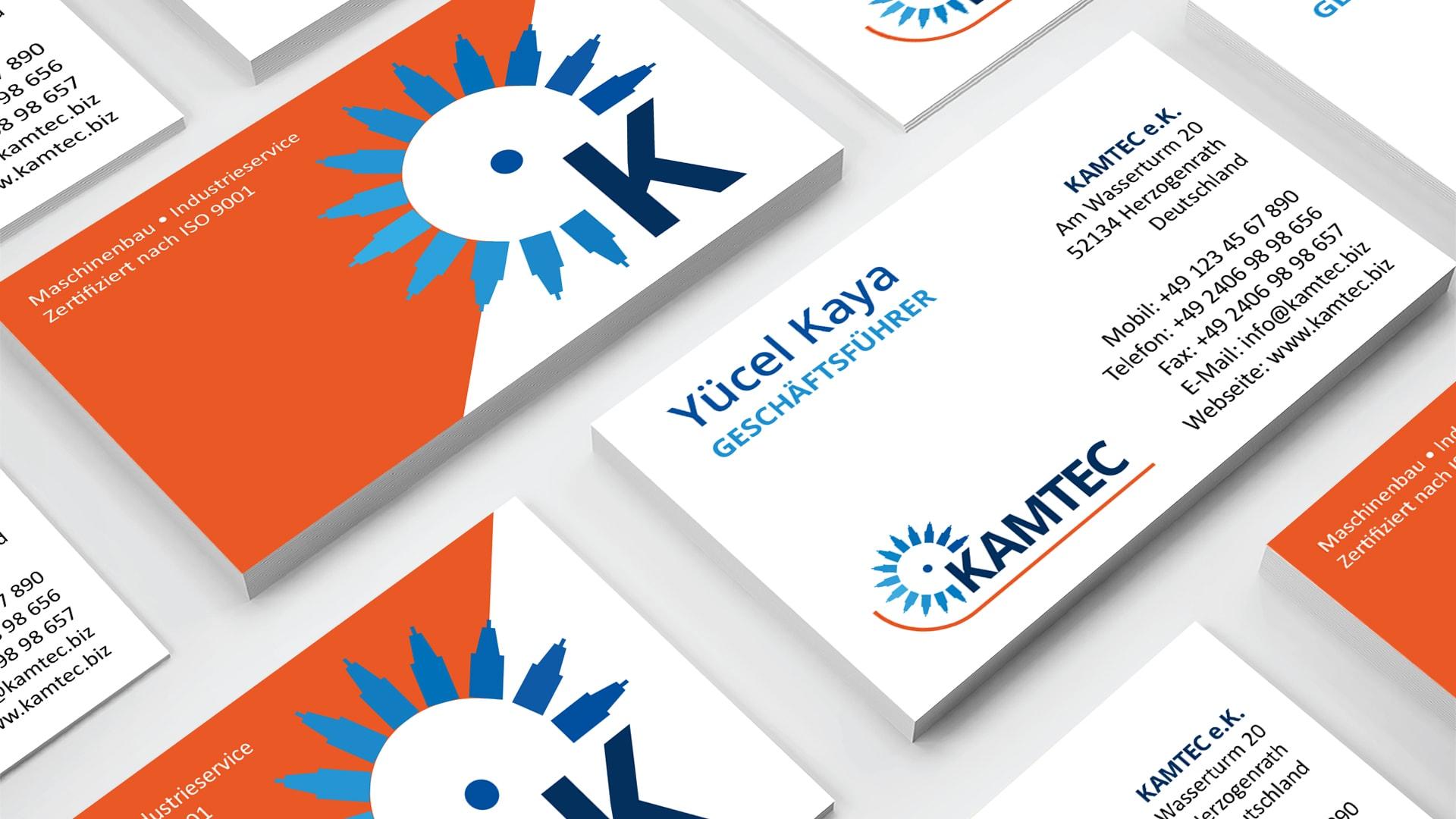 Visitenkarten KAMTEC e.K. – Maschinenbau und Industrieservice, Elementardesign