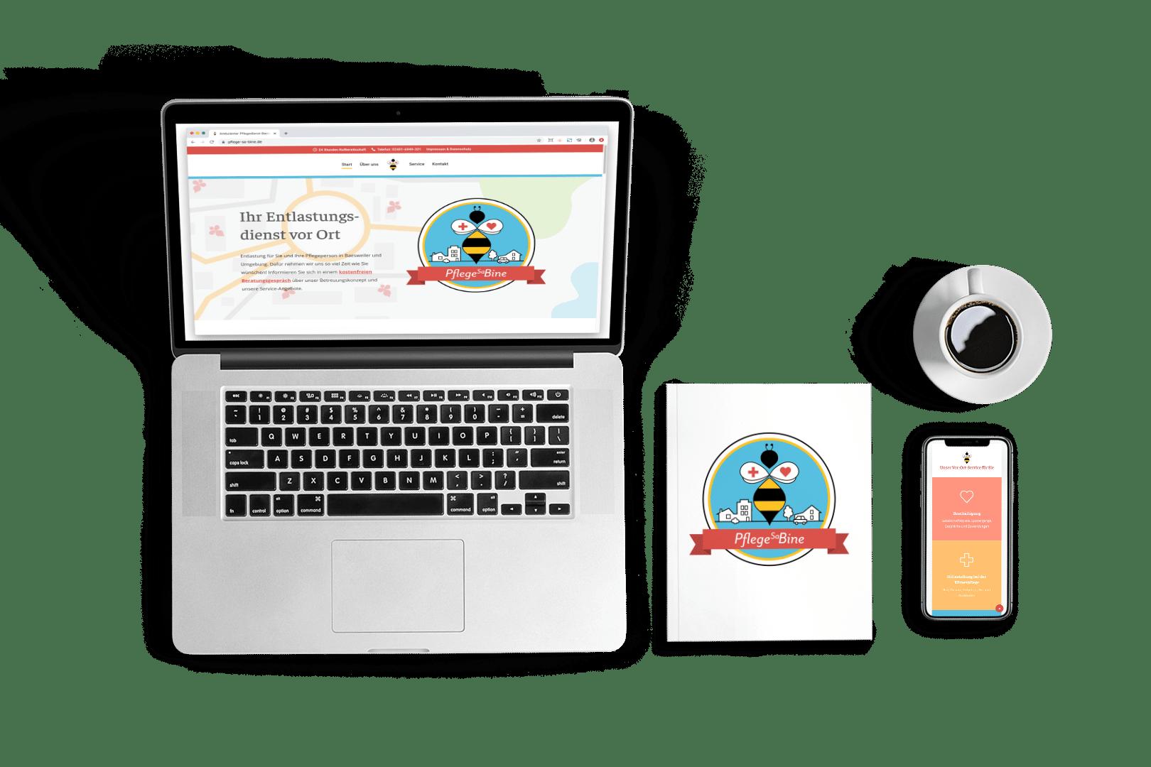 Onepage-Webseite Pflege Sa-Bine - Elementardesign